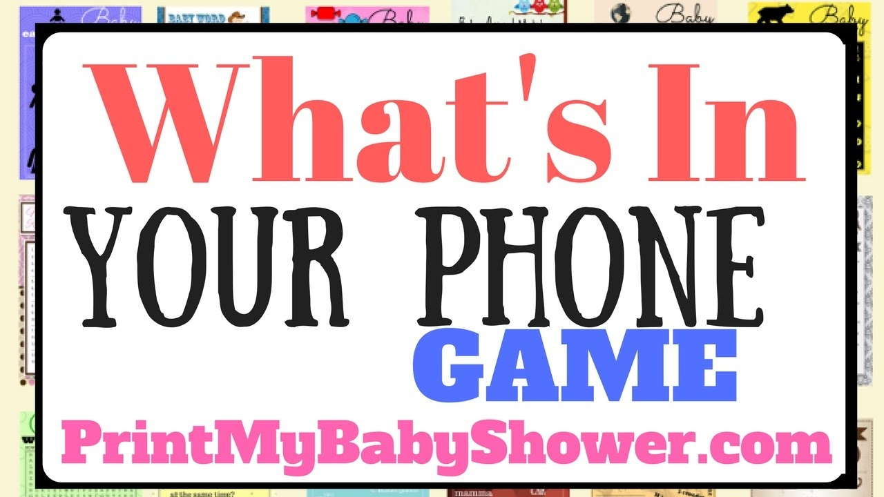 """What's In Your Phone"""" Game - Unique Printable Baby Shower Game - Youtube - What's In Your Phone Baby Shower Game Free Printable"""