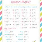 What's Your Unicorn Name? » Go Girl   Unicorn Name Free Printable