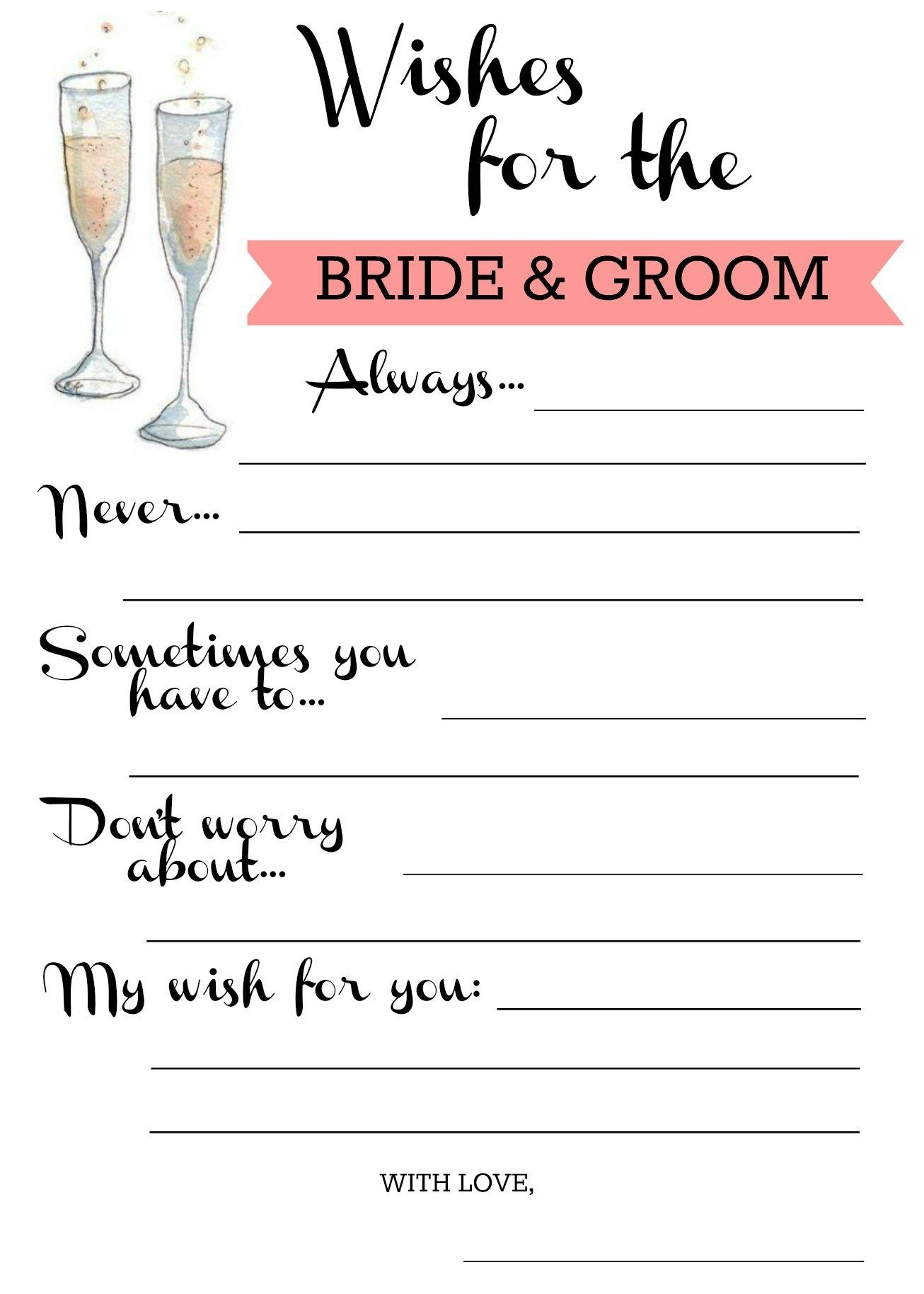 Wishes For Bride & Groom Free Printable | Lets Party In 2019 - Free Printable Bridal Shower Advice Cards