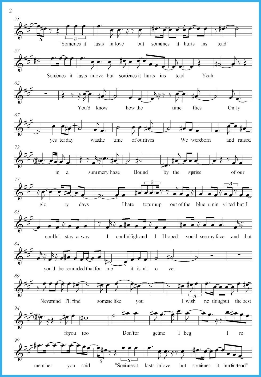 Wolddotk - Free Printable Sheet Music Adele Someone Like You