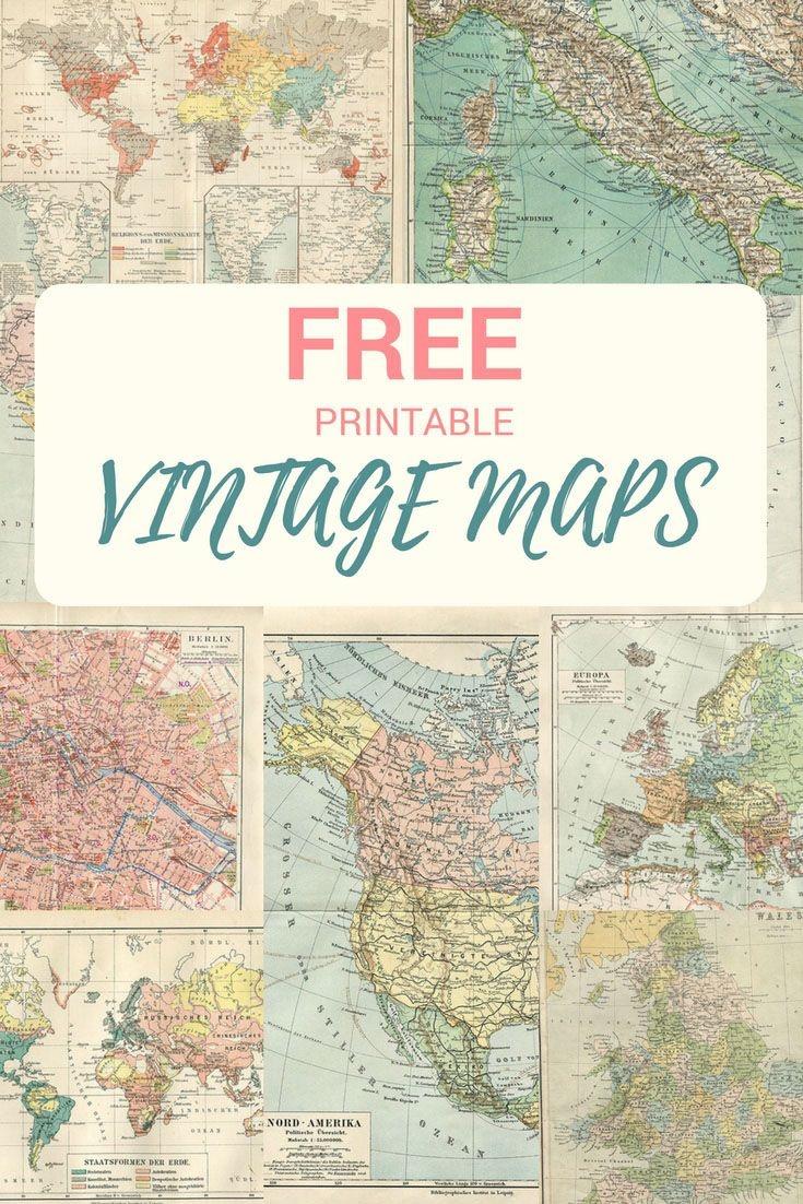 Wonderful Free Printable Vintage Maps To Download | Papercrafts - Free Printable Vintage Pictures