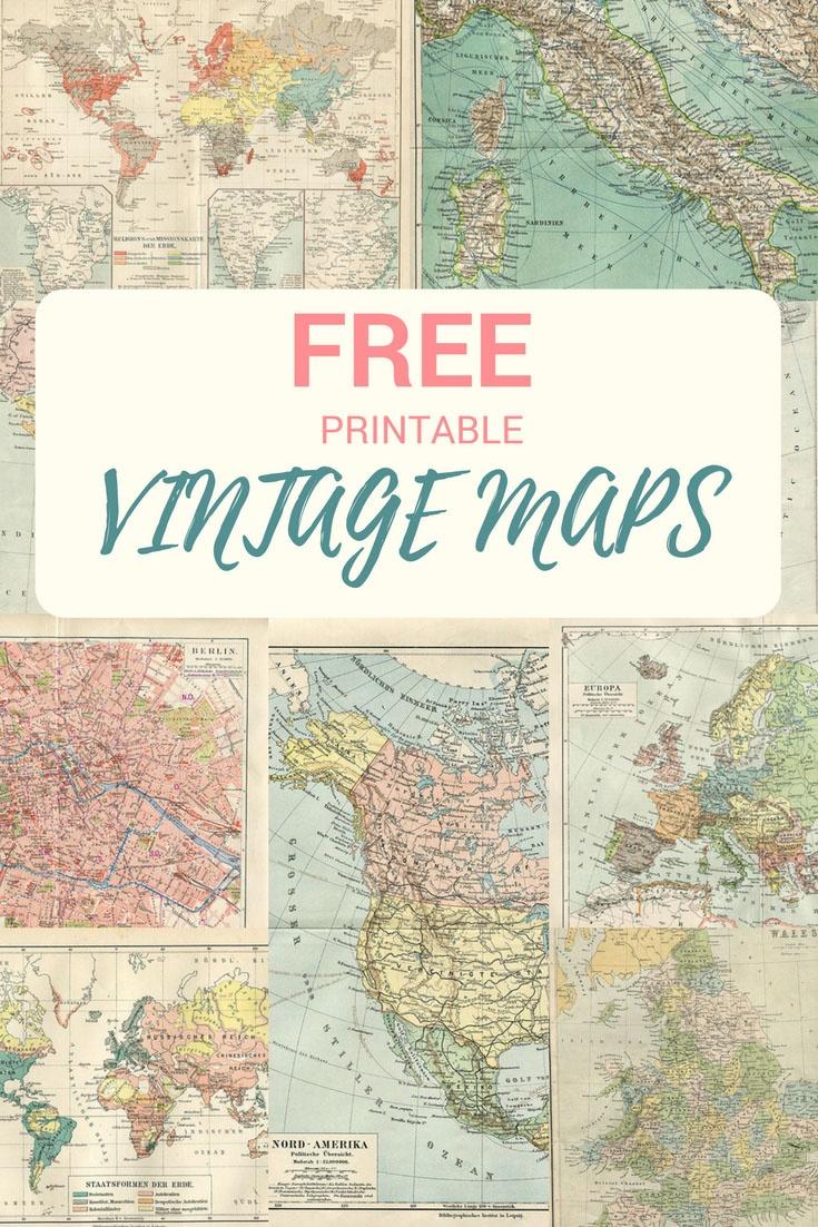 Wonderful Free Printable Vintage Maps To Download - Pillar Box Blue - Free Vintage Printables
