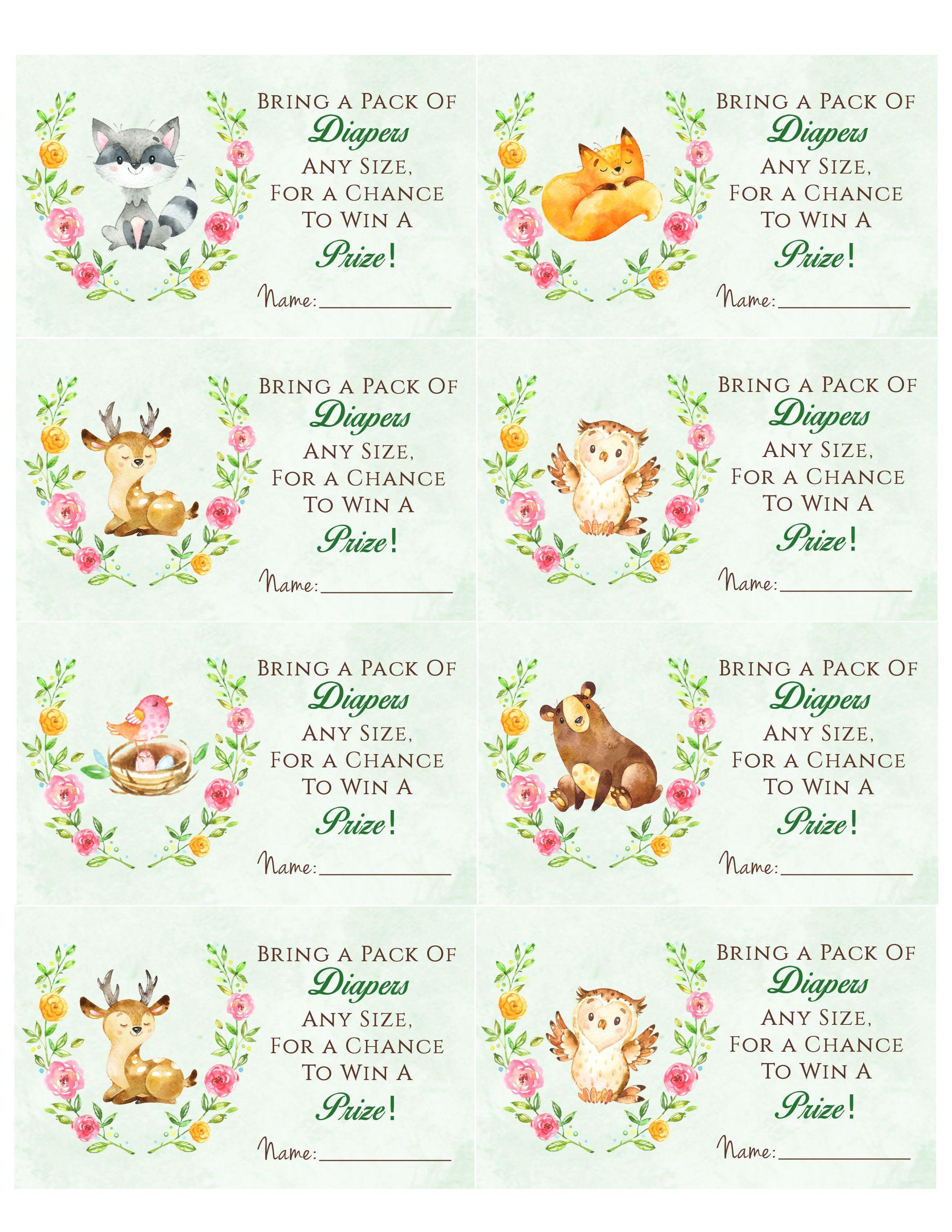 Woodland Animal Baby Shower Diaper Raffle. Free Printable | Birthday - Free Woodland Baby Shower Printables