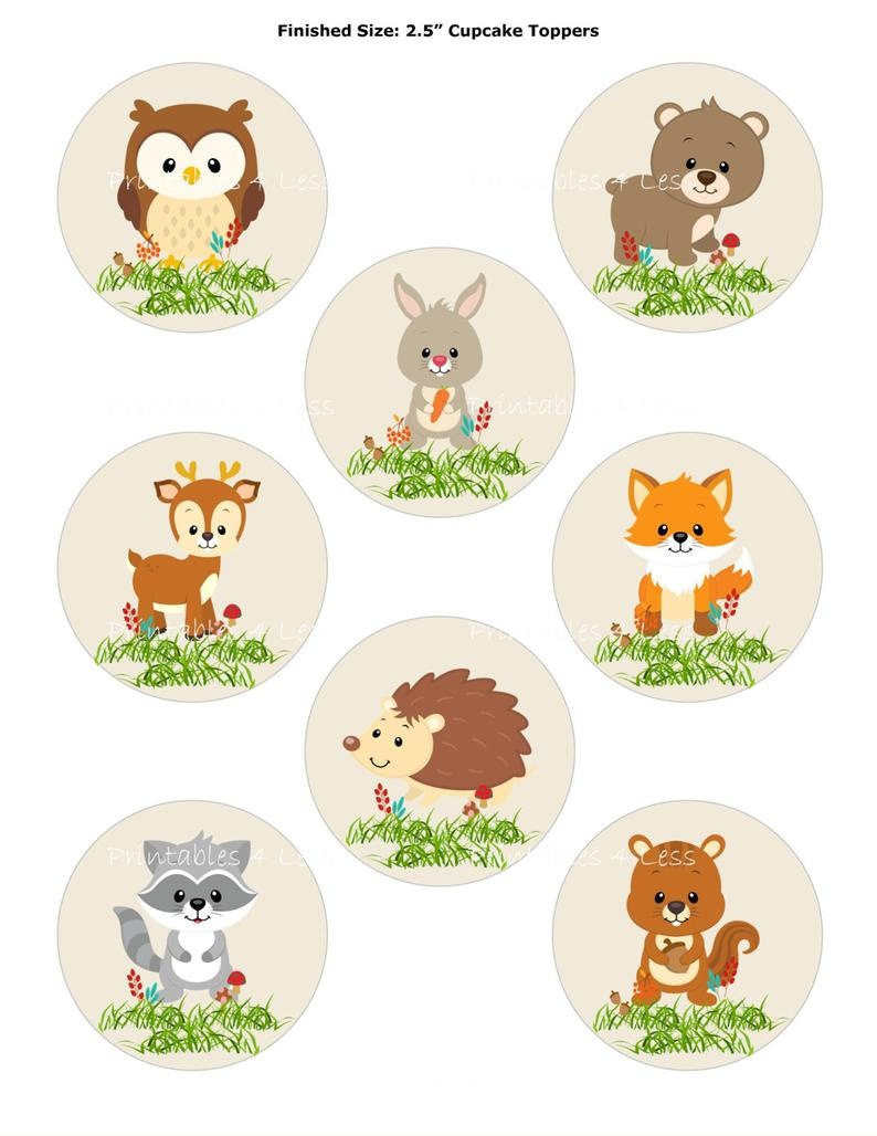 Woodland Cupcake Topper Forest Cupcake Topper Fox Cupcake | Etsy - Free Printable Woodland Animal Templates