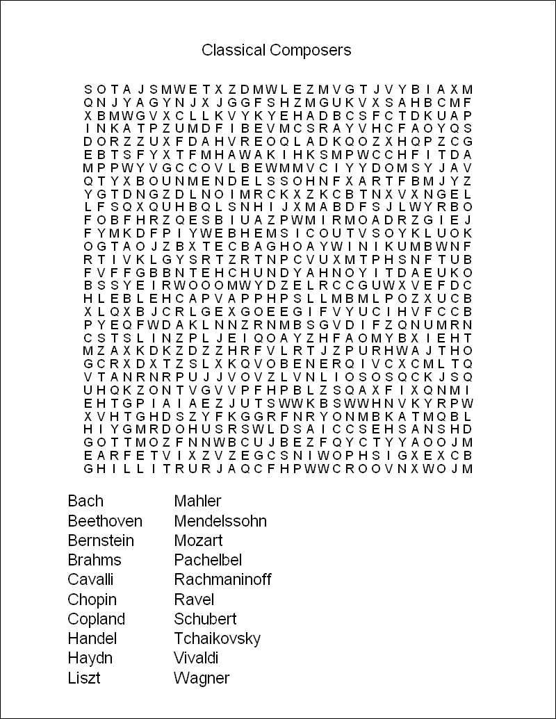 Word Search Puzzle | Childhood Memories | Word Puzzles, Word Search - Free Printable Music Word Searches