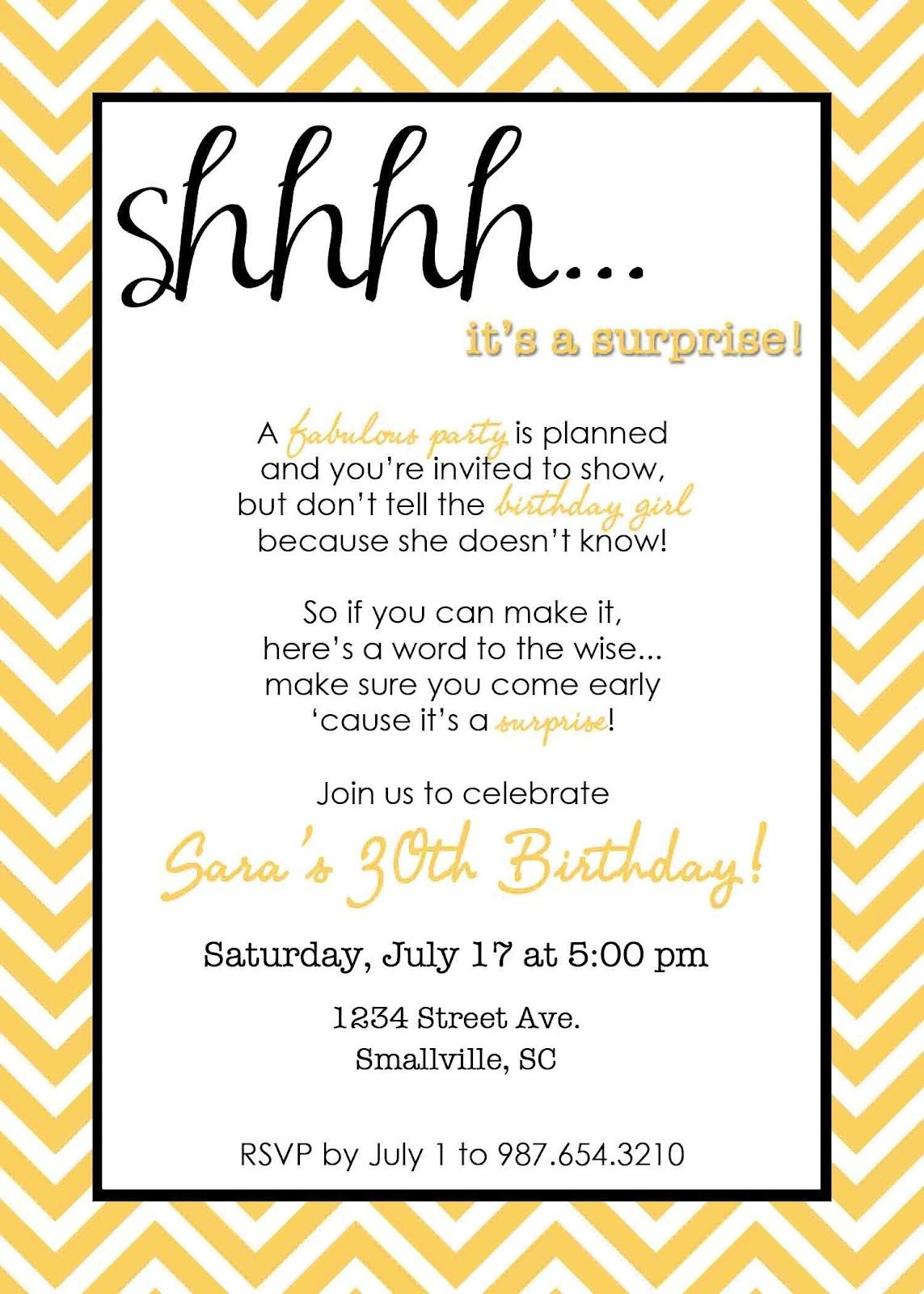 Wording For Surprise Birthday Party | Free Printable Birthday - Free Printable Birthday Invitations For Him