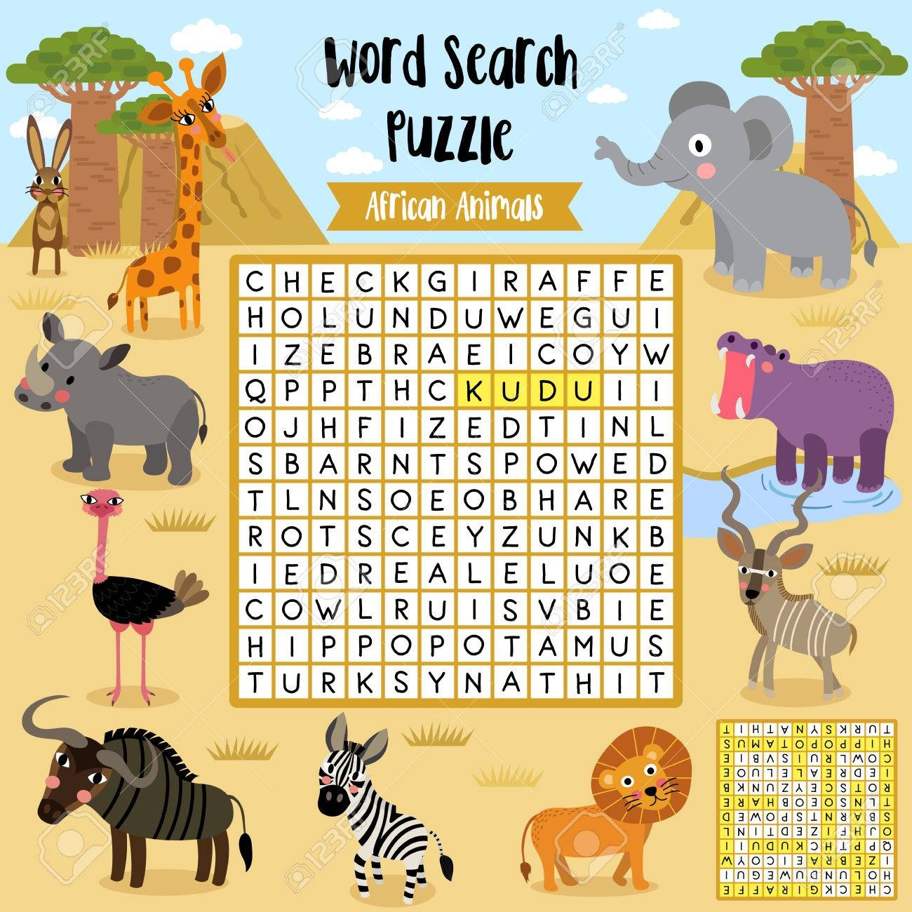 Words Search Puzzle Game Of African Animals For Preschool Kids - Free Printable Animal Puzzles