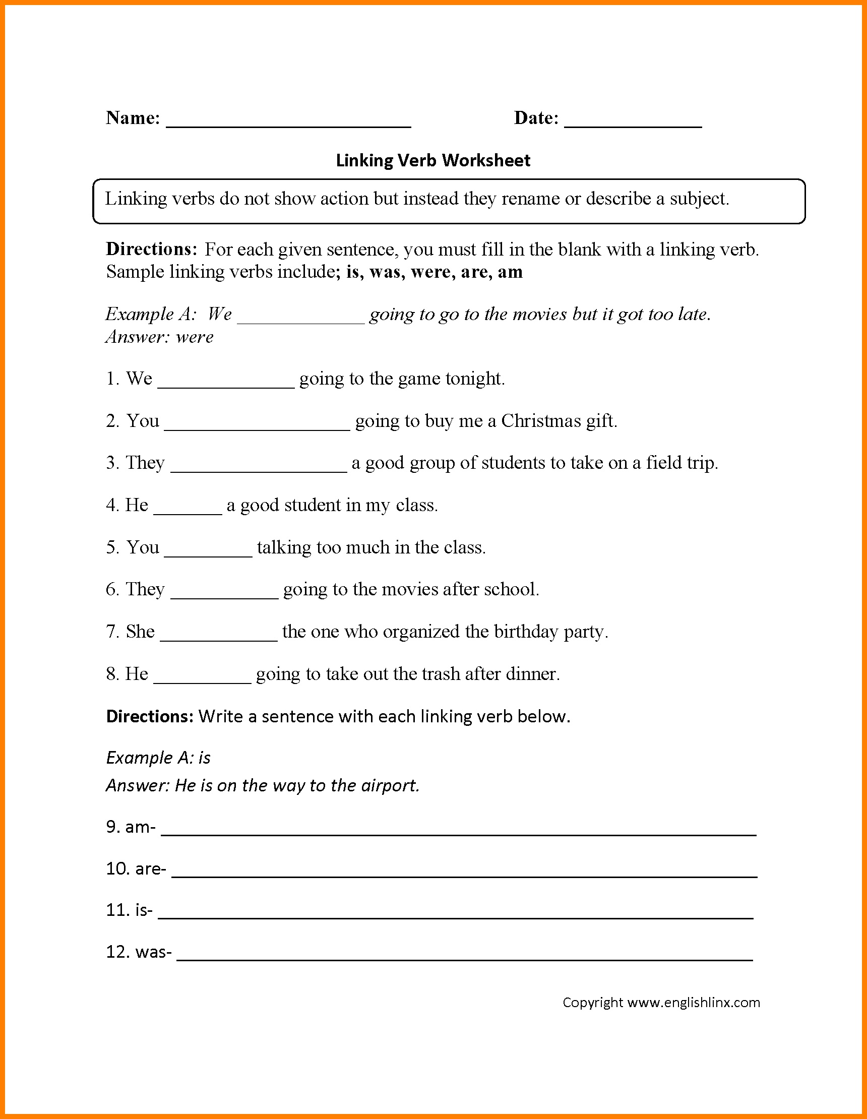 Worksheet: Free Kindergarten Math Worksheets Anger Workbook Learn - Free Printable Linking Verbs Worksheets