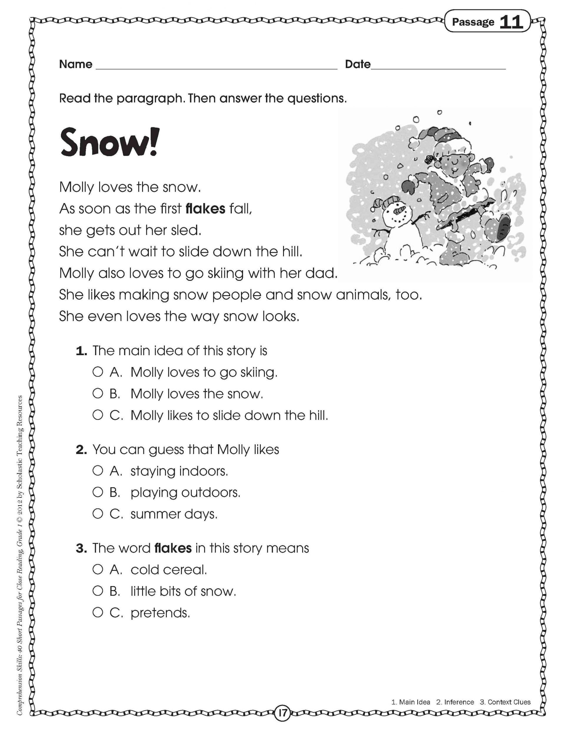 Worksheet: Free Rounding Worksheets Adjectives For Grade With - Free Printable Reading Comprehension Worksheets For 3Rd Grade