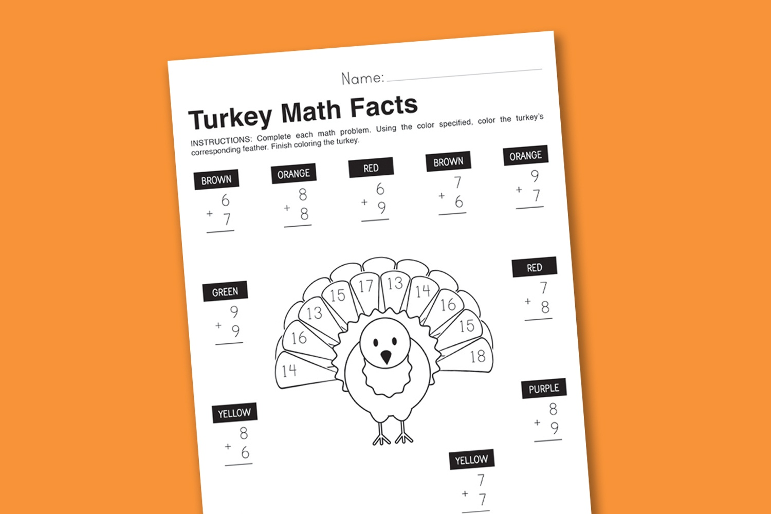 Worksheet Wednesday: Turkey Math Facts - Paging Supermom - Math Worksheets Thanksgiving Free Printable