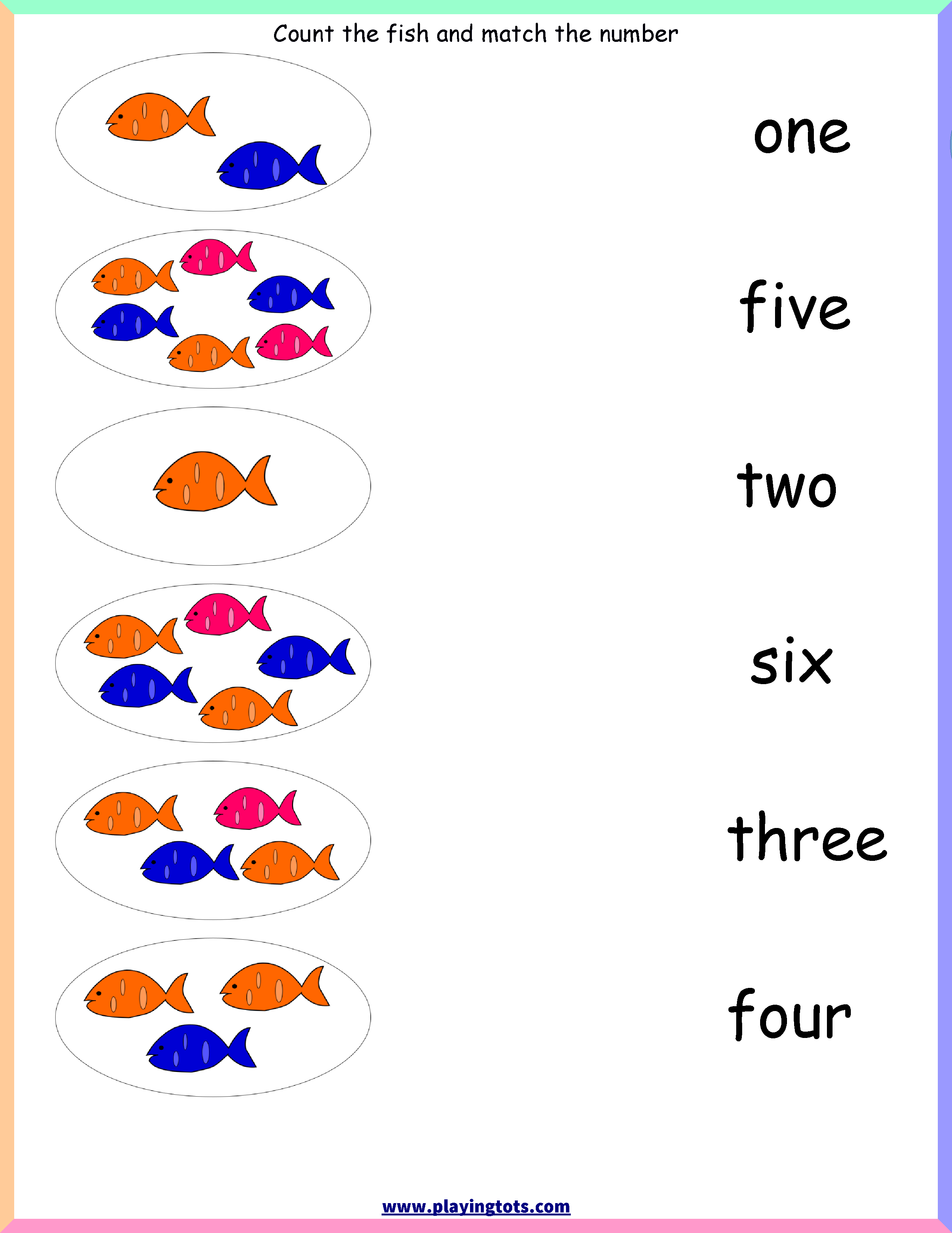 Worksheet,free,printable,count,activity,match,fish,numbers,words - Free Printable File Folders For Preschoolers