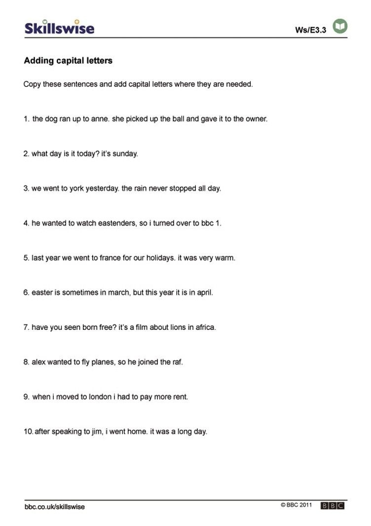Worksheets On Capital Letters And Full Stops   Unseen Passage Yuvika - Free Printable Worksheets For Punctuation And Capitalization