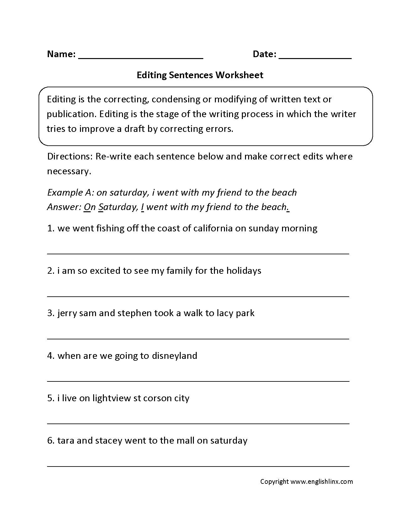 Worksheets. Paragraph Correction Worksheets. Cheatslist Free - Free Printable Sentence Correction Worksheets