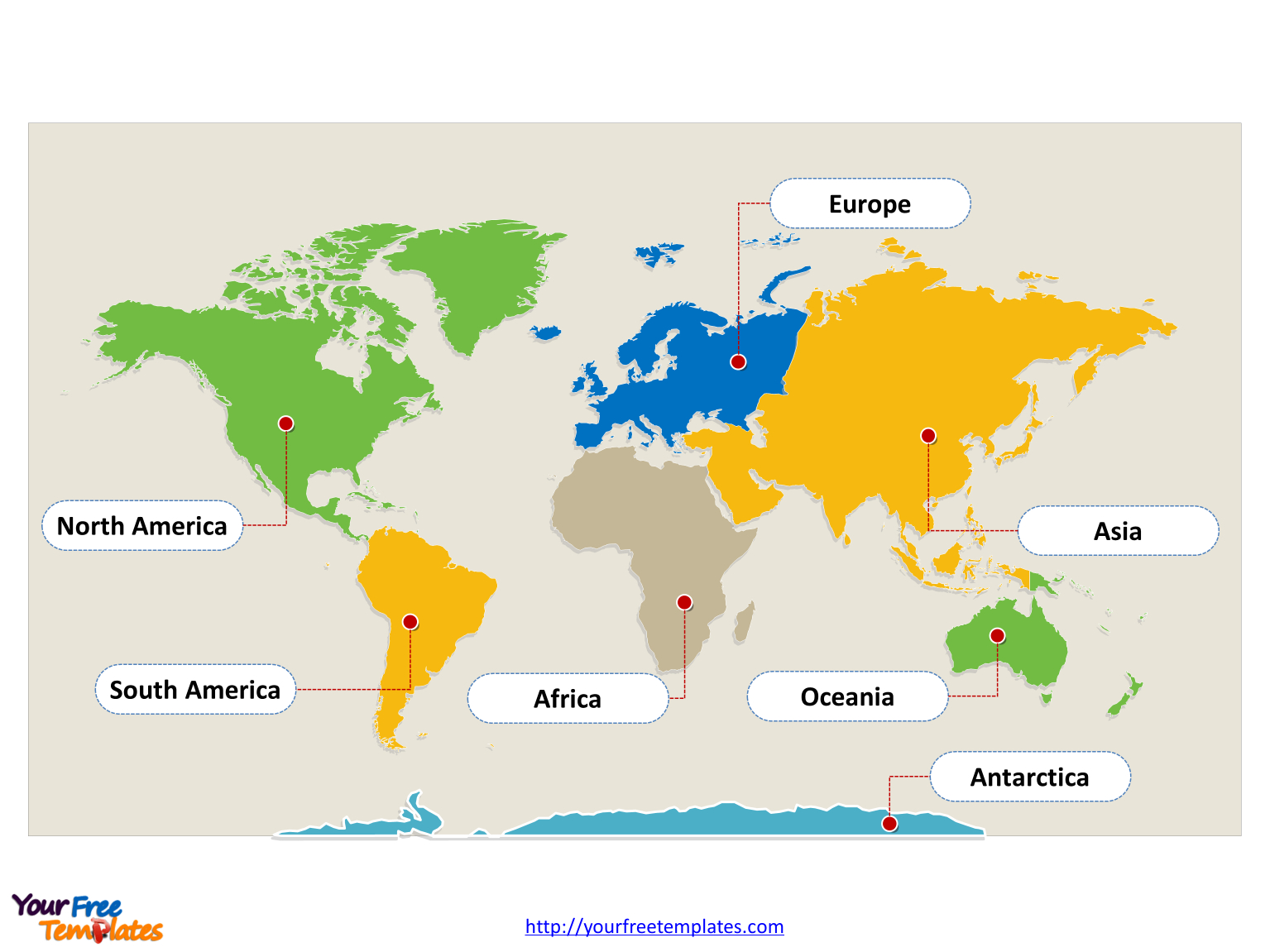 World Map With Continents - Free Powerpoint Templates - Free Printable Continent Map