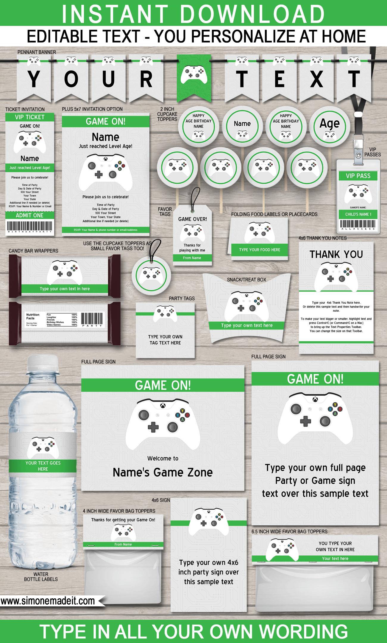Xbox Party Printables, Invitations & Decorations | Video Game Party - Free Printable Video Game Party Invitations