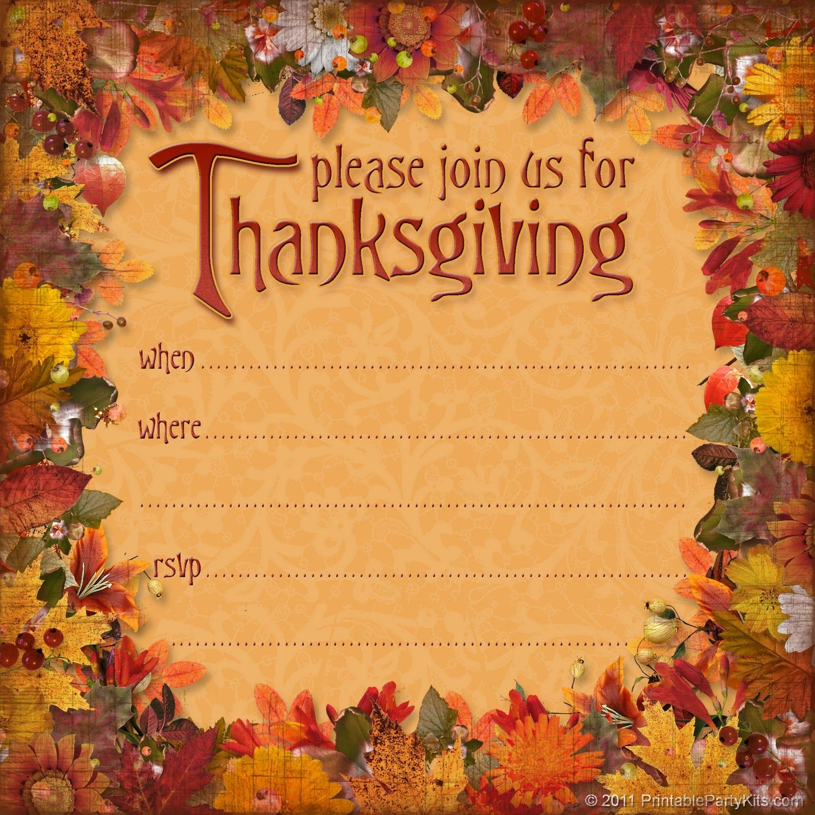 You Can Have Better Idea About Designing A Thanksgiving Party - Free Printable Thanksgiving Invitation Templates