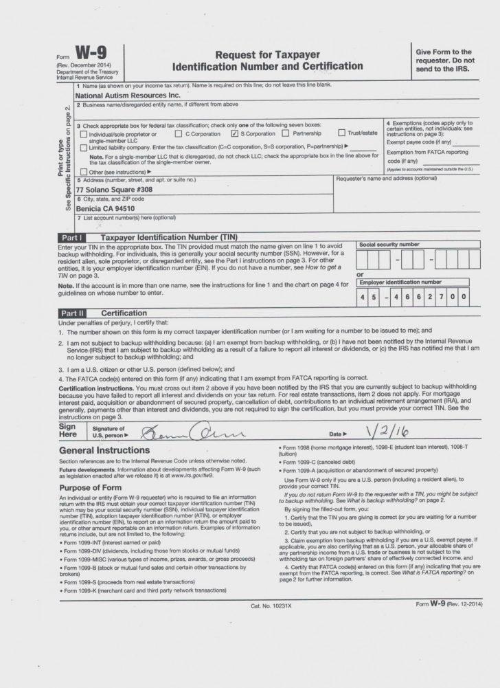 Free Printable W 9 Form