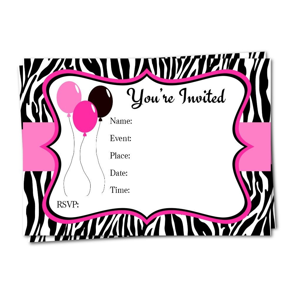 Zebra Print Invitation, Fill In Invitation, Birthday Invitation - Zebra Print Party Invitations Printable Free
