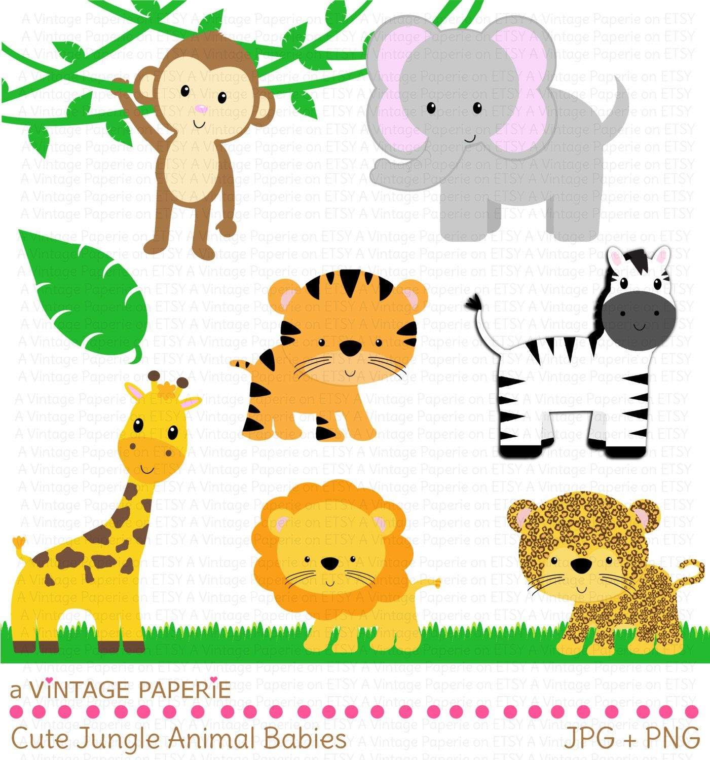 Zoo Animals Clipart - Free Large Images   First Birtday In 2019 - Free Printable Baby Jungle Animal Clipart